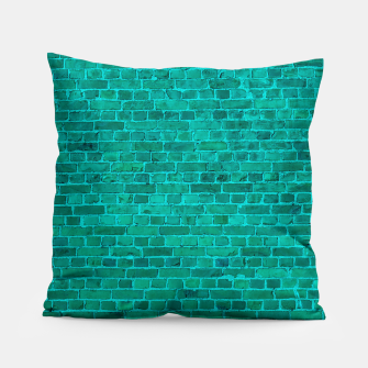 Bright Neon Aqua Blue Brick Wall Pillow miniature