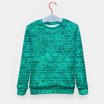 Bright Neon Aqua Blue Brick Wall Kid's sweater miniature