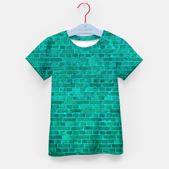Bright Neon Aqua Blue Brick Wall Kid's t-shirt miniature