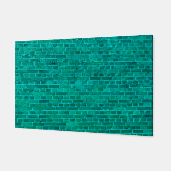 Bright Neon Aqua Blue Brick Wall Canvas miniature