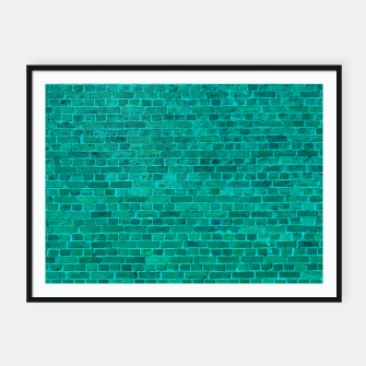 Bright Neon Aqua Blue Brick Wall Framed poster miniature