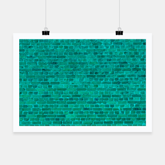 Bright Neon Aqua Blue Brick Wall Poster miniature