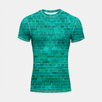 Bright Neon Aqua Blue Brick Wall Shortsleeve rashguard miniature