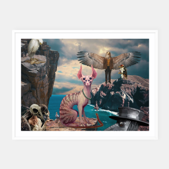 Thumbnail image of Birds with Cat Framed poster, Live Heroes