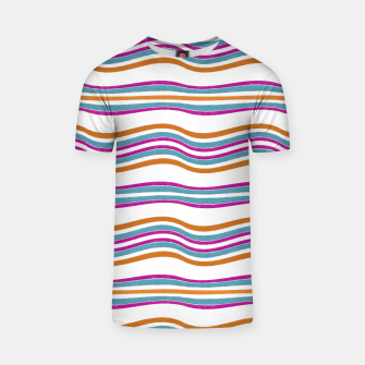 Miniature de image de Colorful Wavy Stripes Pattern T-shirt, Live Heroes