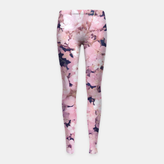 Thumbnail image of blossom blooming pink flower texture pattern abstract background Girl's leggings, Live Heroes