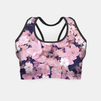 Miniatur blossom blooming pink flower texture pattern abstract background Crop Top, Live Heroes