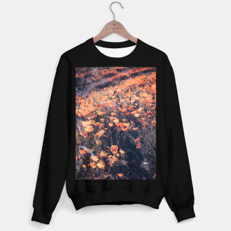 Thumbnail image of blooming yellow poppy flower field in California, USA Sweater regular, Live Heroes