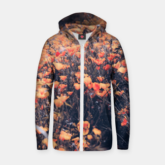 Thumbnail image of blooming yellow poppy flower field in California, USA Cotton zip up hoodie, Live Heroes