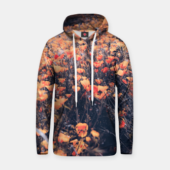 Thumbnail image of blooming yellow poppy flower field in California, USA Cotton hoodie, Live Heroes