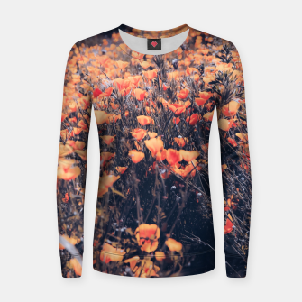 Thumbnail image of blooming yellow poppy flower field in California, USA Woman cotton sweater, Live Heroes