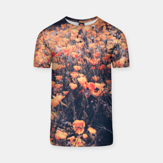 Thumbnail image of blooming yellow poppy flower field in California, USA T-shirt, Live Heroes