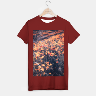 Thumbnail image of blooming yellow poppy flower field in California, USA T-shirt regular, Live Heroes