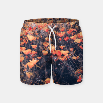 Thumbnail image of blooming yellow poppy flower field in California, USA Swim Shorts, Live Heroes