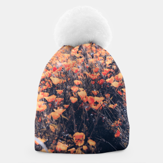 Thumbnail image of blooming yellow poppy flower field in California, USA Beanie, Live Heroes