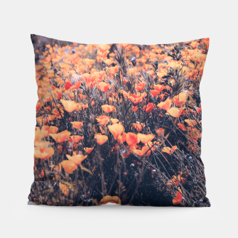 Thumbnail image of blooming yellow poppy flower field in California, USA Pillow, Live Heroes