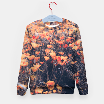 Thumbnail image of blooming yellow poppy flower field in California, USA Kid's sweater, Live Heroes