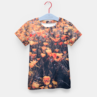 Thumbnail image of blooming yellow poppy flower field in California, USA Kid's t-shirt, Live Heroes