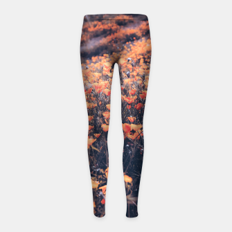 Thumbnail image of blooming yellow poppy flower field in California, USA Girl's leggings, Live Heroes