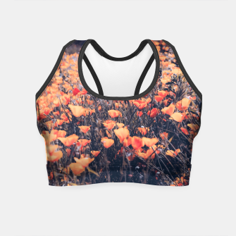 Miniatur blooming yellow poppy flower field in California, USA Crop Top, Live Heroes