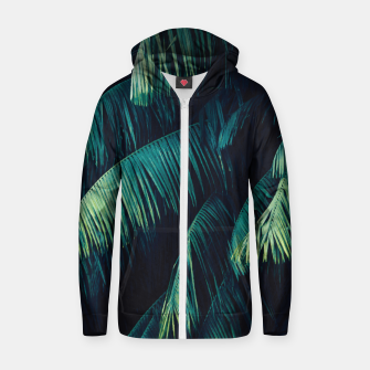 Thumbnail image of Palm tree leaf green Cotton zip up hoodie, Live Heroes