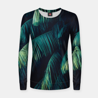 Thumbnail image of Palm tree leaf green Woman cotton sweater, Live Heroes