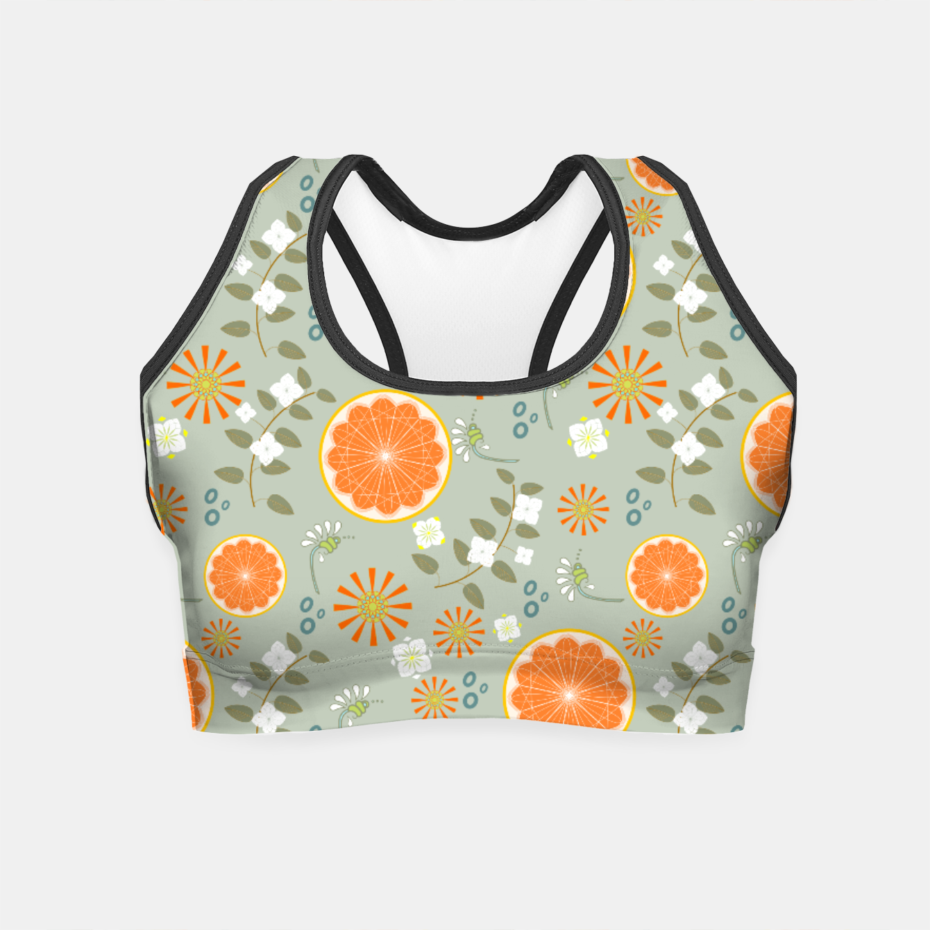 Oranges With White Flowers Crop Top Live Heroes