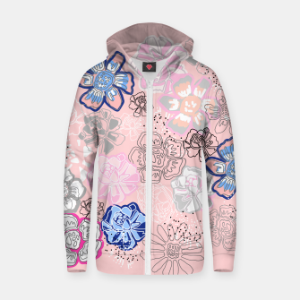 Thumbnail image of Pretty Flowers Cotton zip up hoodie, Live Heroes