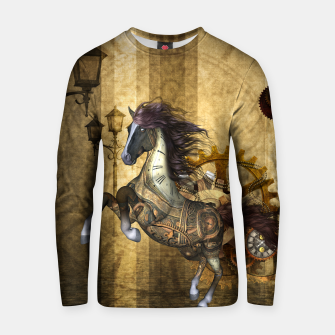 Thumbnail image of Awesome steampunk horse, clocks and gears in golden colors Cotton sweater, Live Heroes