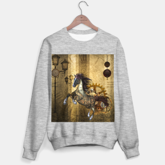 Thumbnail image of Awesome steampunk horse, clocks and gears in golden colors Sweater regular, Live Heroes