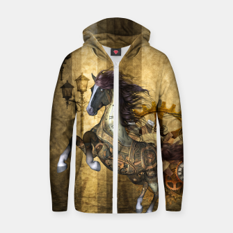Thumbnail image of Awesome steampunk horse, clocks and gears in golden colors Cotton zip up hoodie, Live Heroes
