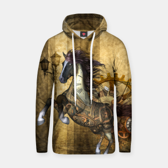 Thumbnail image of Awesome steampunk horse, clocks and gears in golden colors Cotton hoodie, Live Heroes