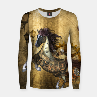 Thumbnail image of Awesome steampunk horse, clocks and gears in golden colors Woman cotton sweater, Live Heroes