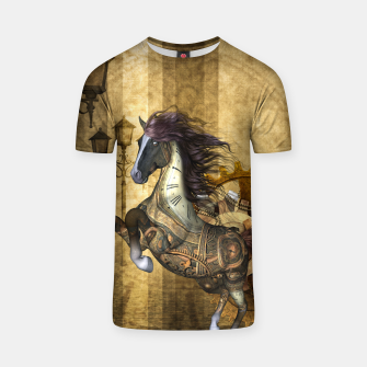 Thumbnail image of Awesome steampunk horse, clocks and gears in golden colors T-shirt, Live Heroes
