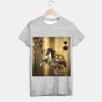 Thumbnail image of Awesome steampunk horse, clocks and gears in golden colors T-shirt regular, Live Heroes