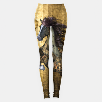 Thumbnail image of Awesome steampunk horse, clocks and gears in golden colors Leggings, Live Heroes