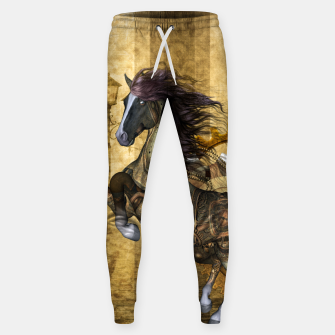 Thumbnail image of Awesome steampunk horse, clocks and gears in golden colors Cotton sweatpants, Live Heroes