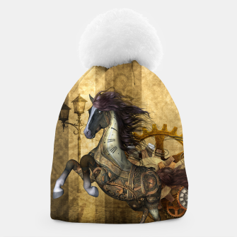 Thumbnail image of Awesome steampunk horse, clocks and gears in golden colors Beanie, Live Heroes