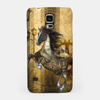 Thumbnail image of Awesome steampunk horse, clocks and gears in golden colors Samsung Case, Live Heroes