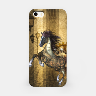 Thumbnail image of Awesome steampunk horse, clocks and gears in golden colors iPhone Case, Live Heroes