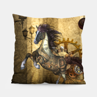 Thumbnail image of Awesome steampunk horse, clocks and gears in golden colors Pillow, Live Heroes