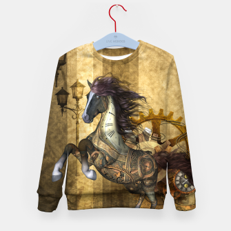 Thumbnail image of Awesome steampunk horse, clocks and gears in golden colors Kid's sweater, Live Heroes
