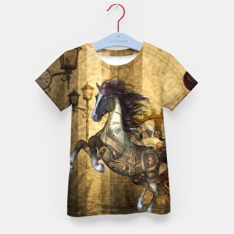 Thumbnail image of Awesome steampunk horse, clocks and gears in golden colors Kid's t-shirt, Live Heroes