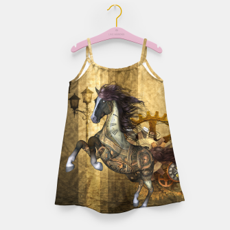 Thumbnail image of Awesome steampunk horse, clocks and gears in golden colors Girl's dress, Live Heroes