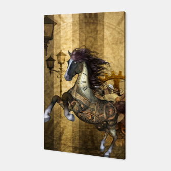 Thumbnail image of Awesome steampunk horse, clocks and gears in golden colors Canvas, Live Heroes