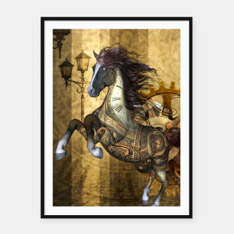 Thumbnail image of Awesome steampunk horse, clocks and gears in golden colors Framed poster, Live Heroes