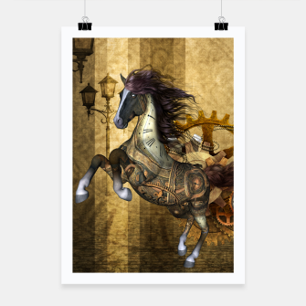 Thumbnail image of Awesome steampunk horse, clocks and gears in golden colors Poster, Live Heroes
