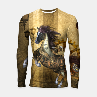 Thumbnail image of Awesome steampunk horse, clocks and gears in golden colors Longsleeve rashguard , Live Heroes