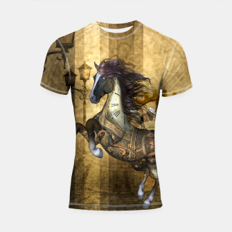 Thumbnail image of Awesome steampunk horse, clocks and gears in golden colors Shortsleeve rashguard, Live Heroes