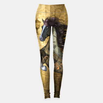 Miniatur Awesome steampunk horse, clocks and gears in golden colors Leggings, Live Heroes